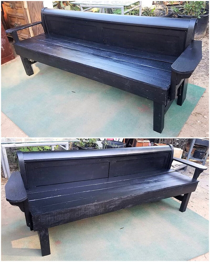 reused pallets outdoor bench