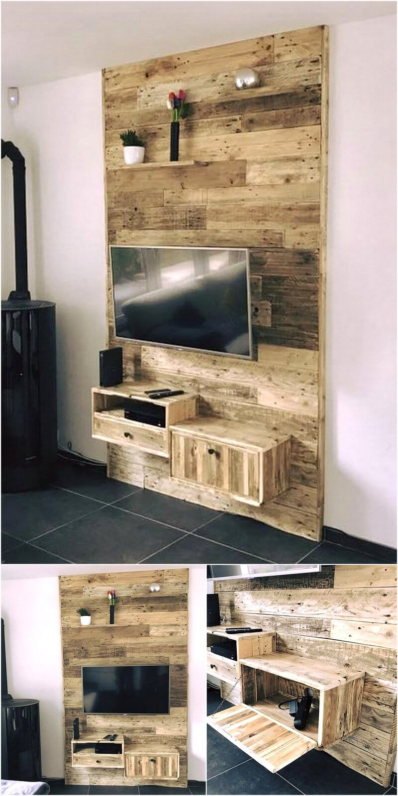 reused wood pallets wall tv stand
