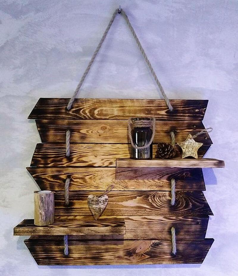 wood pallet rustic hanging shelf