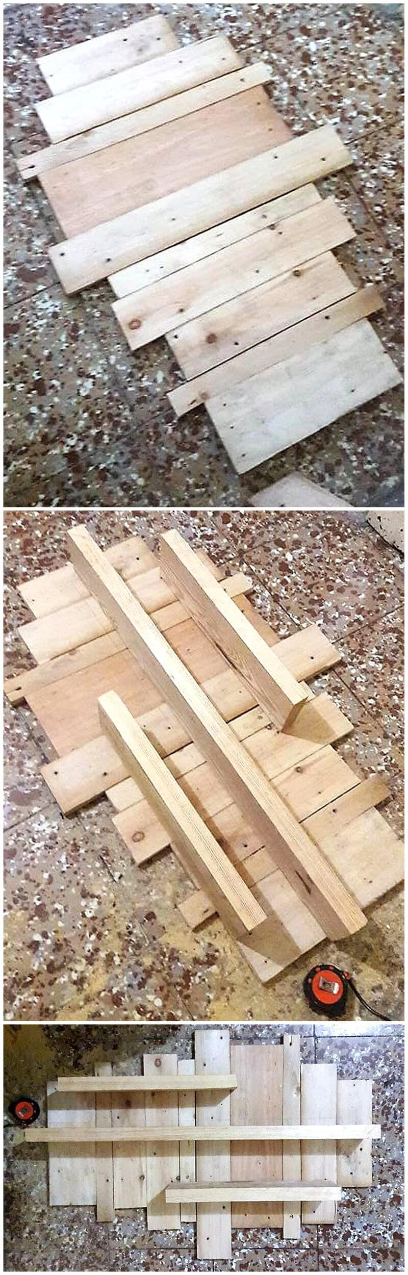 wood pallet shelf diy