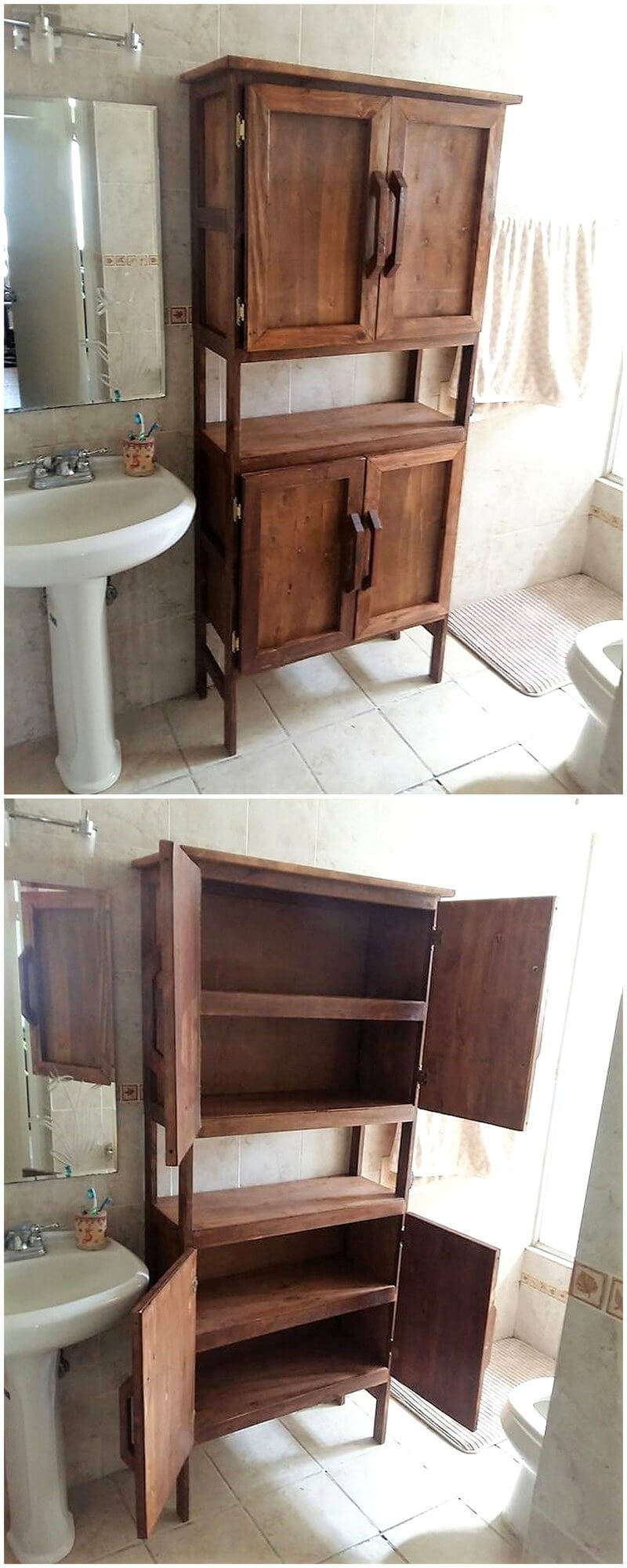 wood pallet storage for bathroom