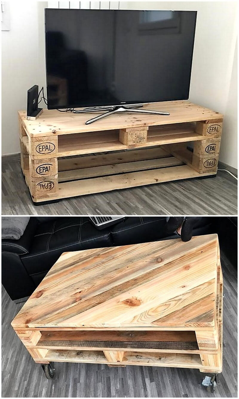 wood pallets tv stand and coffee table