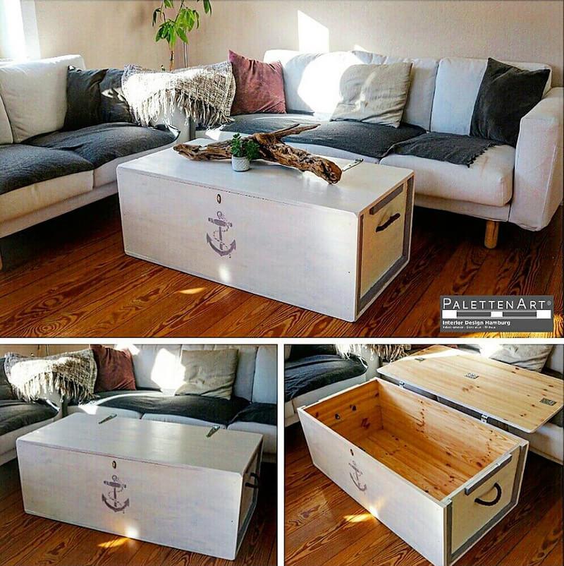 wooden pallet coffee table cum storage chest