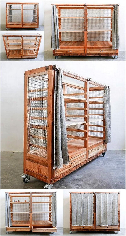 wooden pallet kitchen storage rack on wheels