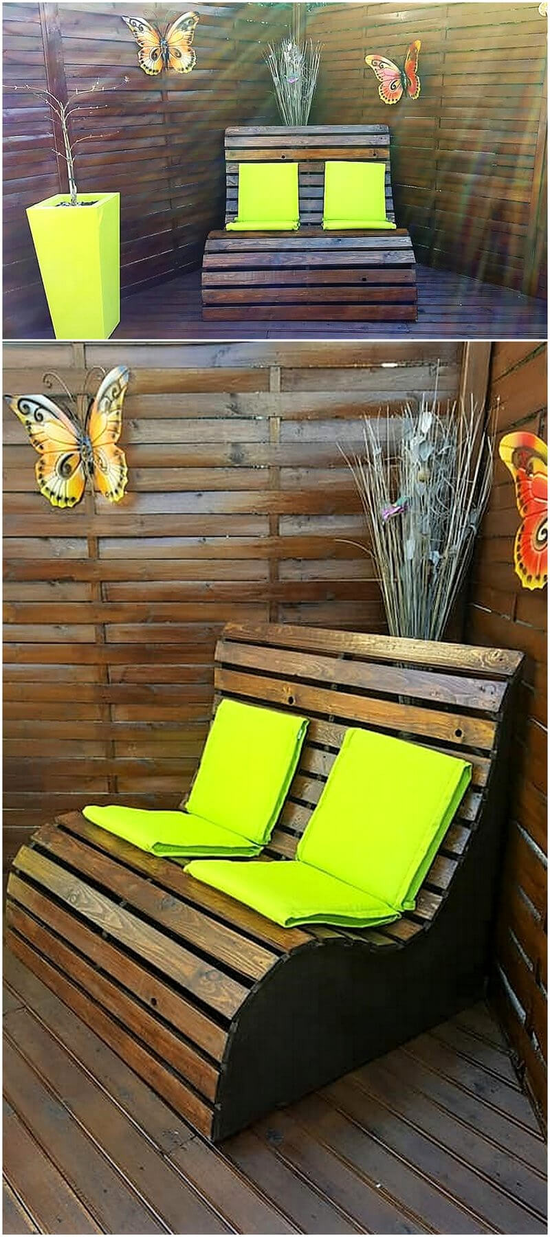 wooden pallet patio terrace with bench