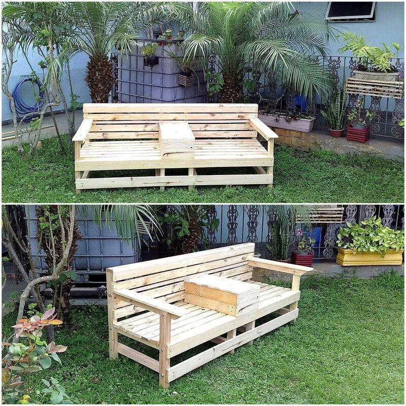wooden pallets garden bench