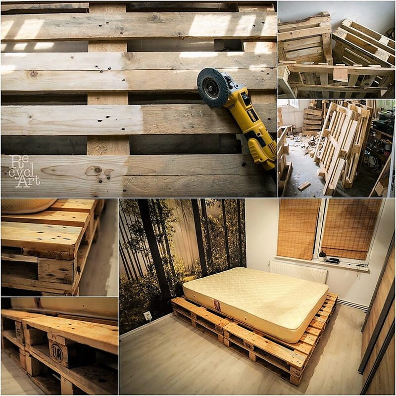 diy pallets wooden bed
