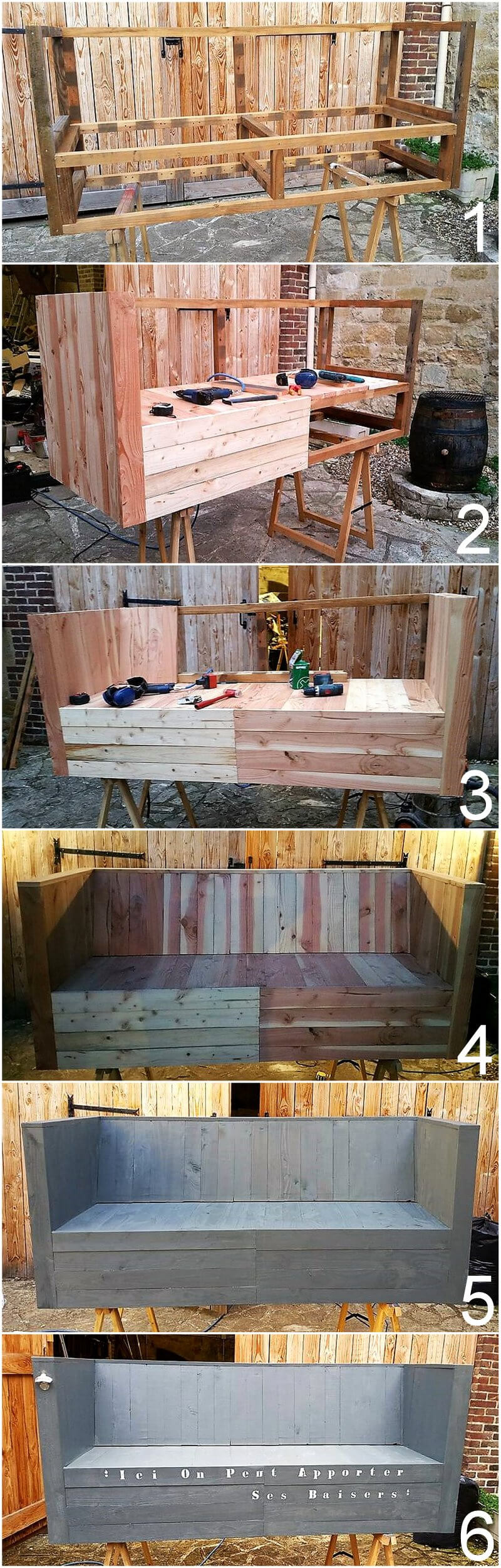 diy wood pallets made couch