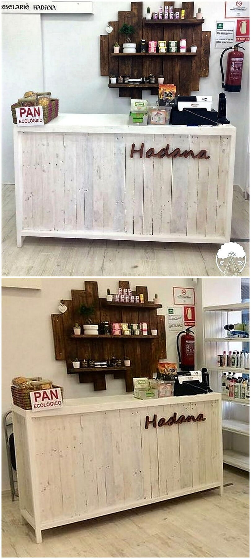 pallet wooden counter and wall shelf