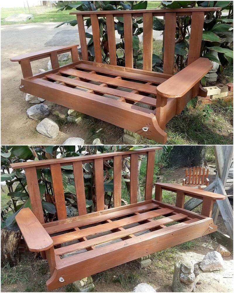 pallets garden swing bench