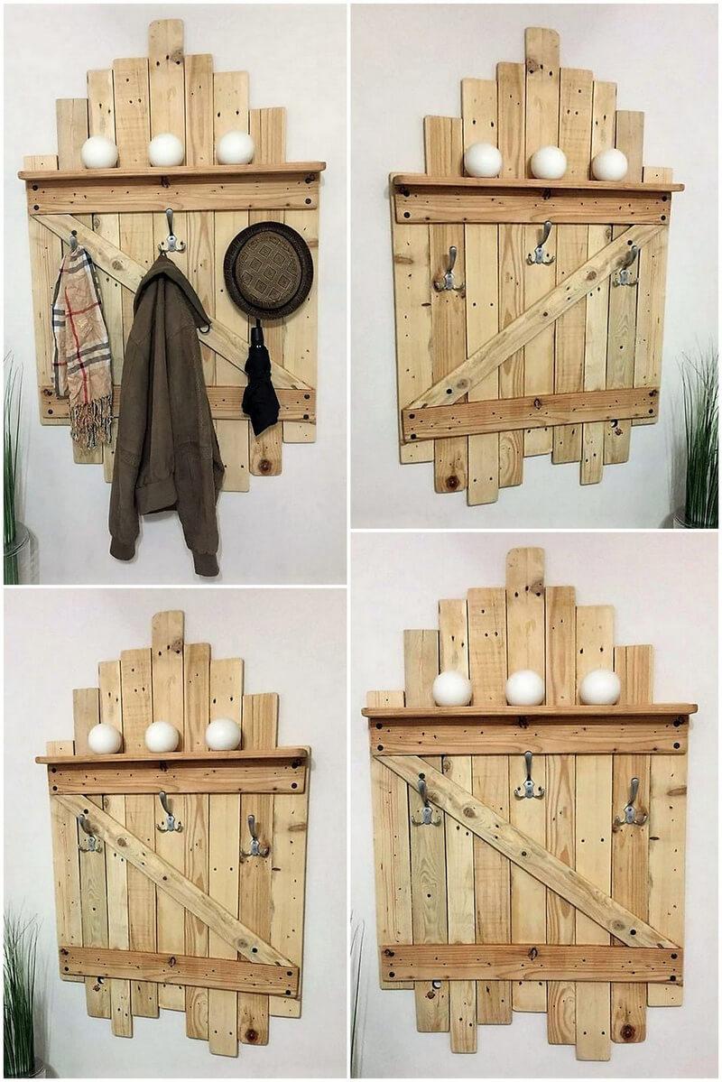 pallets shelf and hanger idea