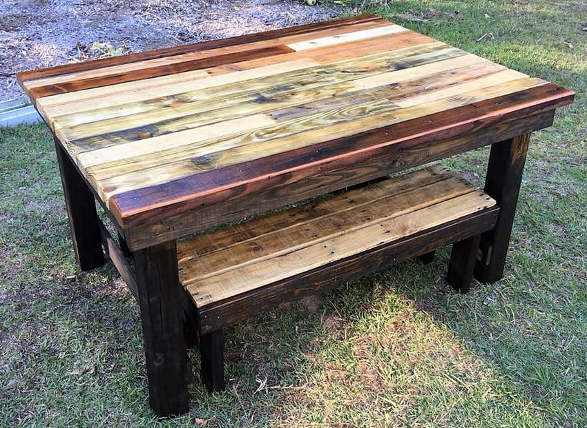 pallets wooden table and benches