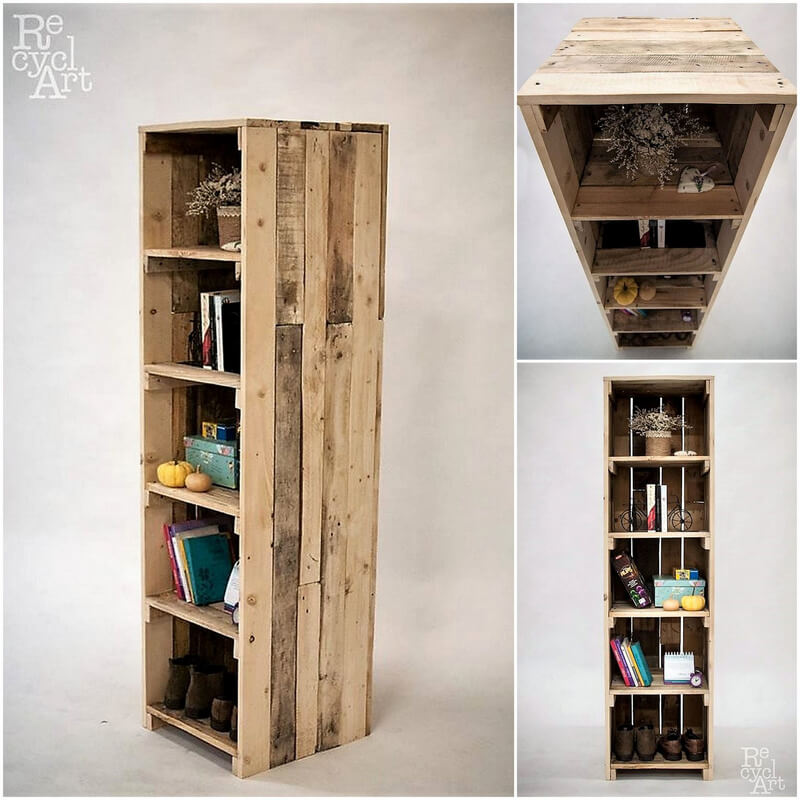 recycled pallets fruit crates wall shelving cabinet