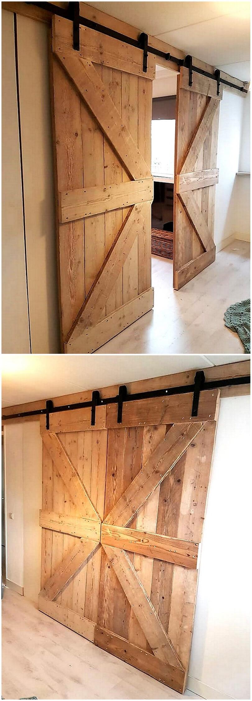 repurposed pallet sliding door