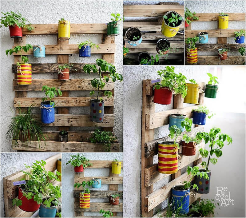 reused pallet wall planter