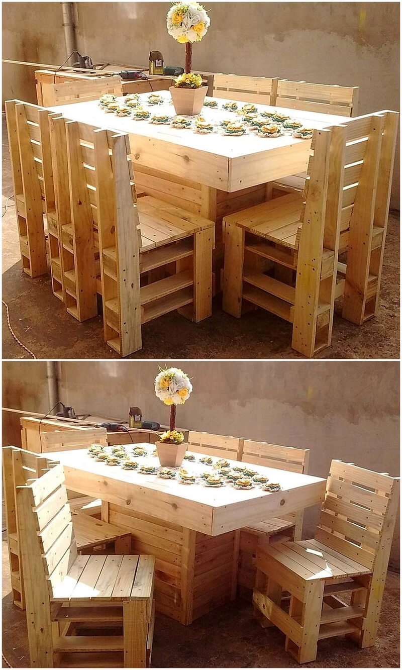 wood pallet dining set