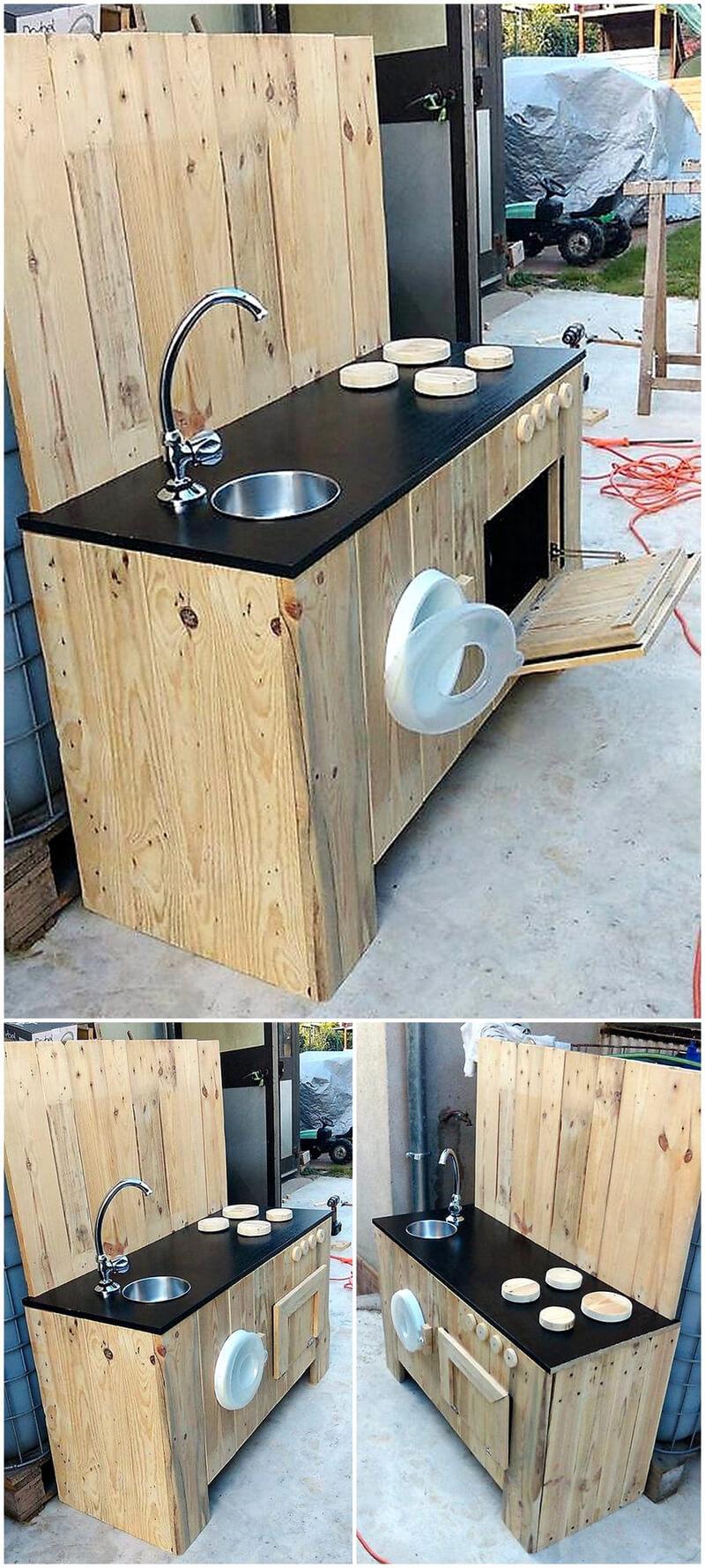wood pallets mud kitchen for kids