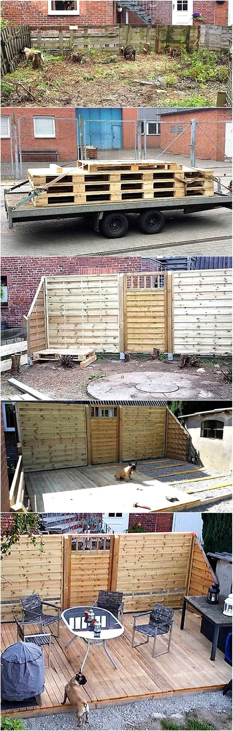 DIY pallets wooden garden deck plan