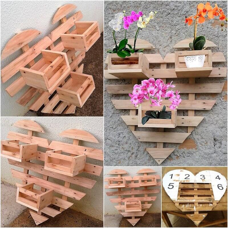 DIY wood pallets wall pots heart stand