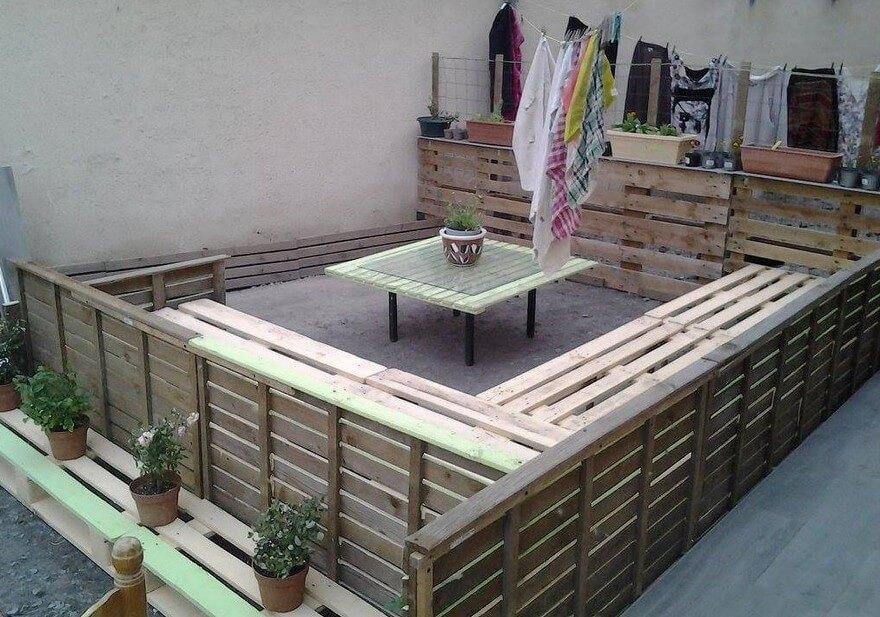 diy pallet wood patio lounge