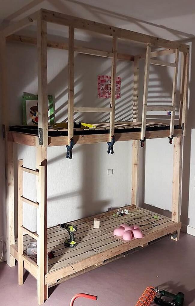 diy pallets wood kids bunk bed