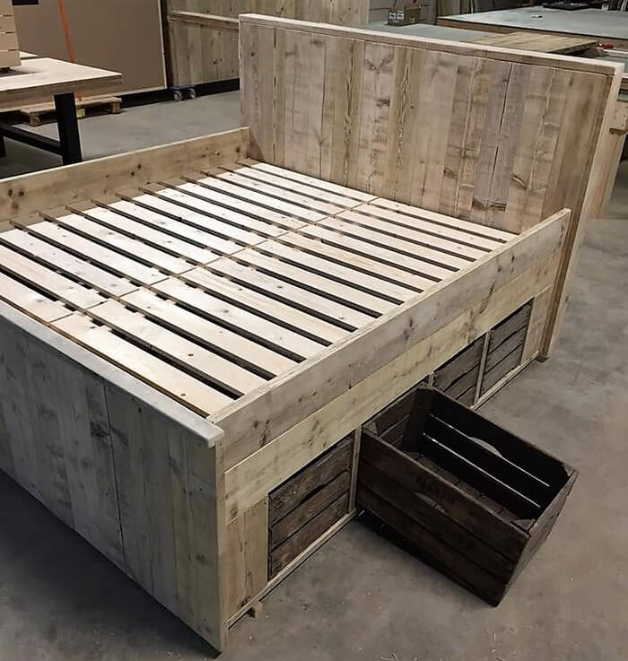 giant pallet bed with storage plan wood pallet furniture
