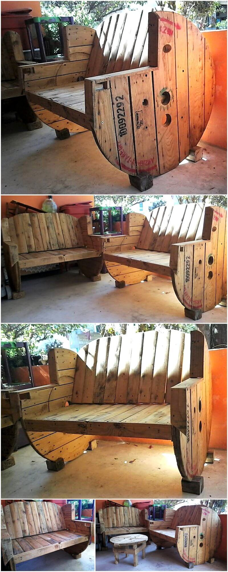 pallet cable spool recycled benches