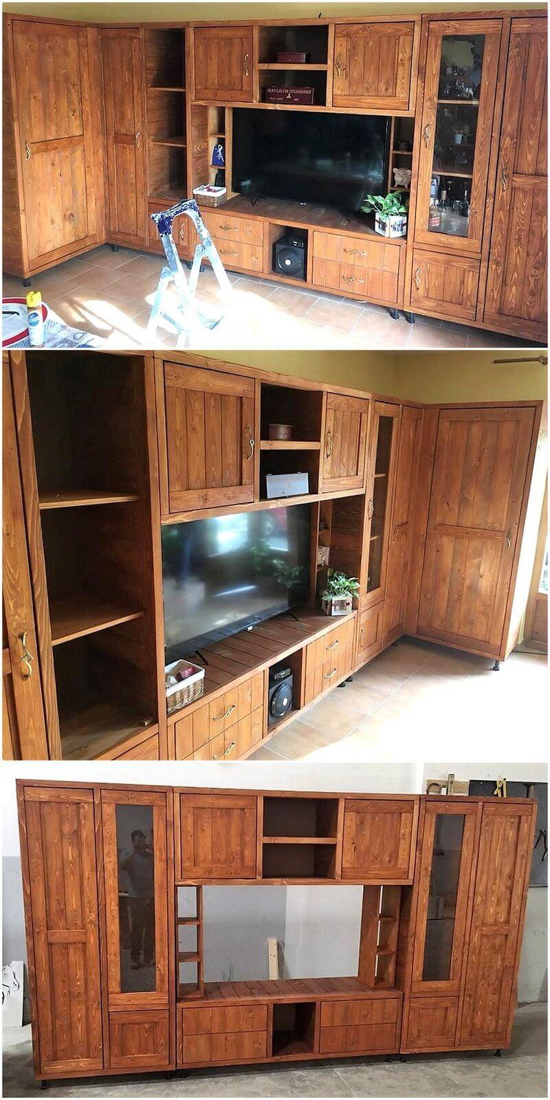 pallet living room media cabin wardrobe