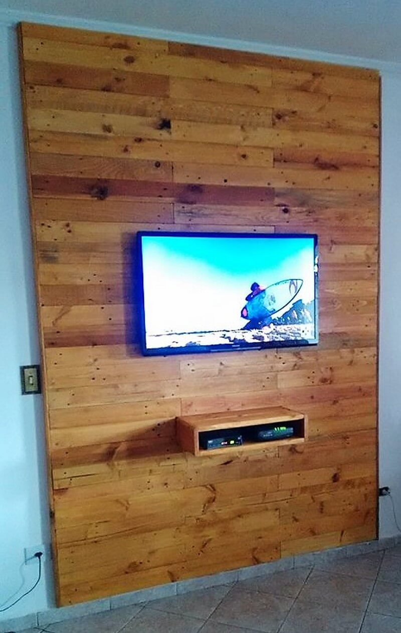 pallet wall tv cladding