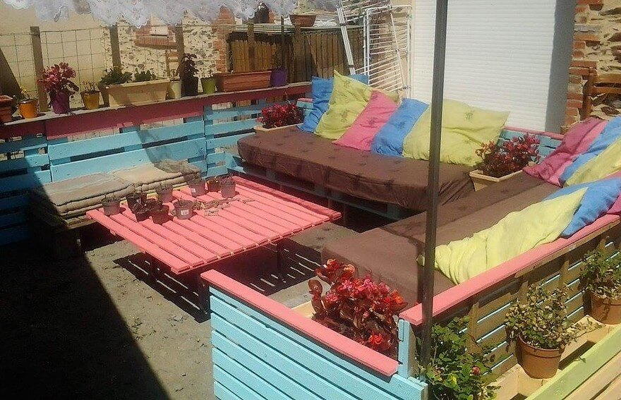 pallet wood patio lounge