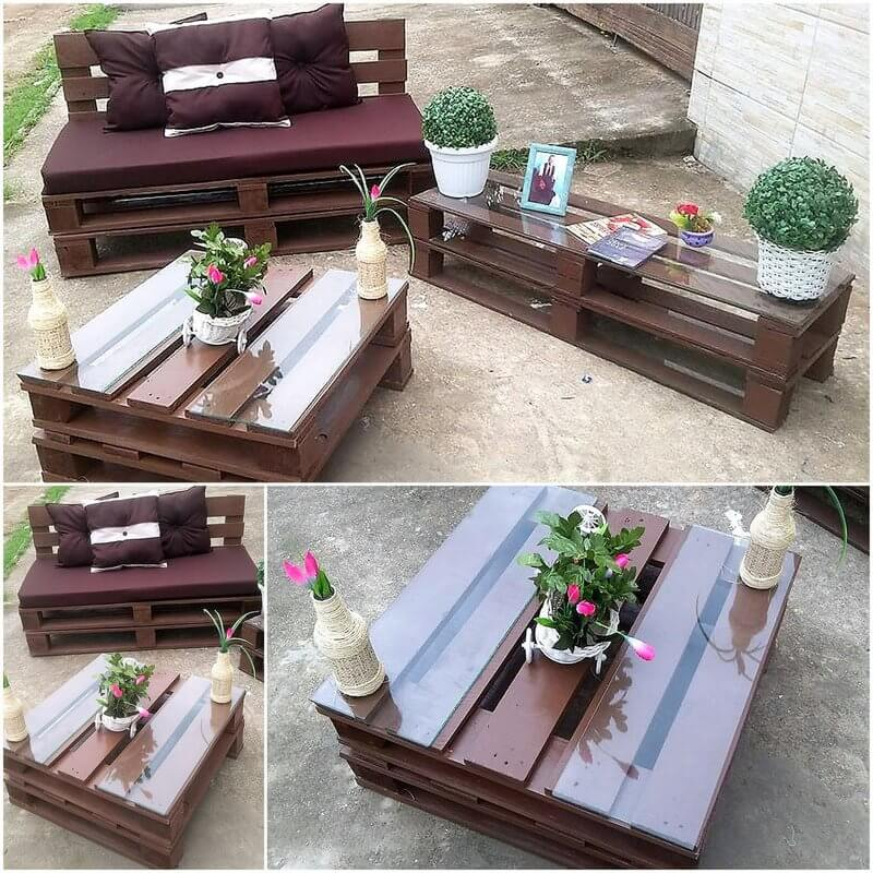 pallet wooden patio lounger