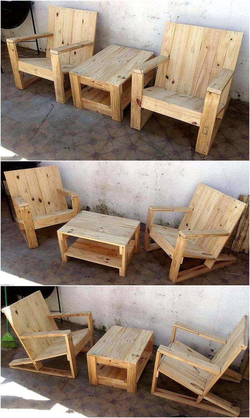 pallets made furniture set idea