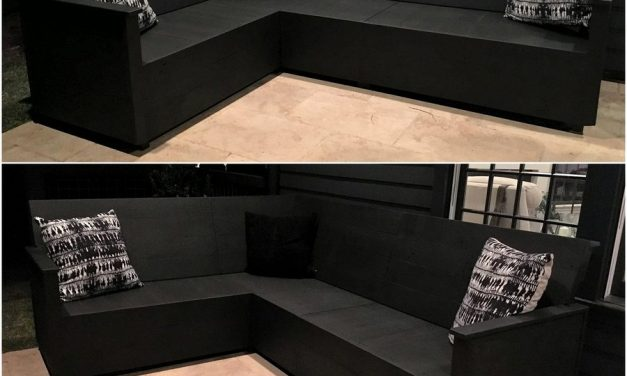 Wood Pallet Made L-Shape Sofa Plan