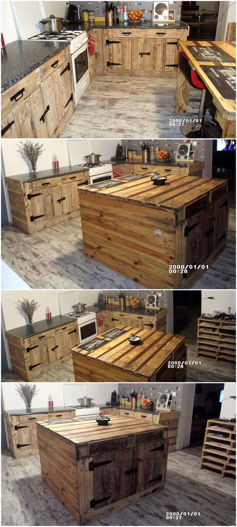 pallets wood kitchen plan