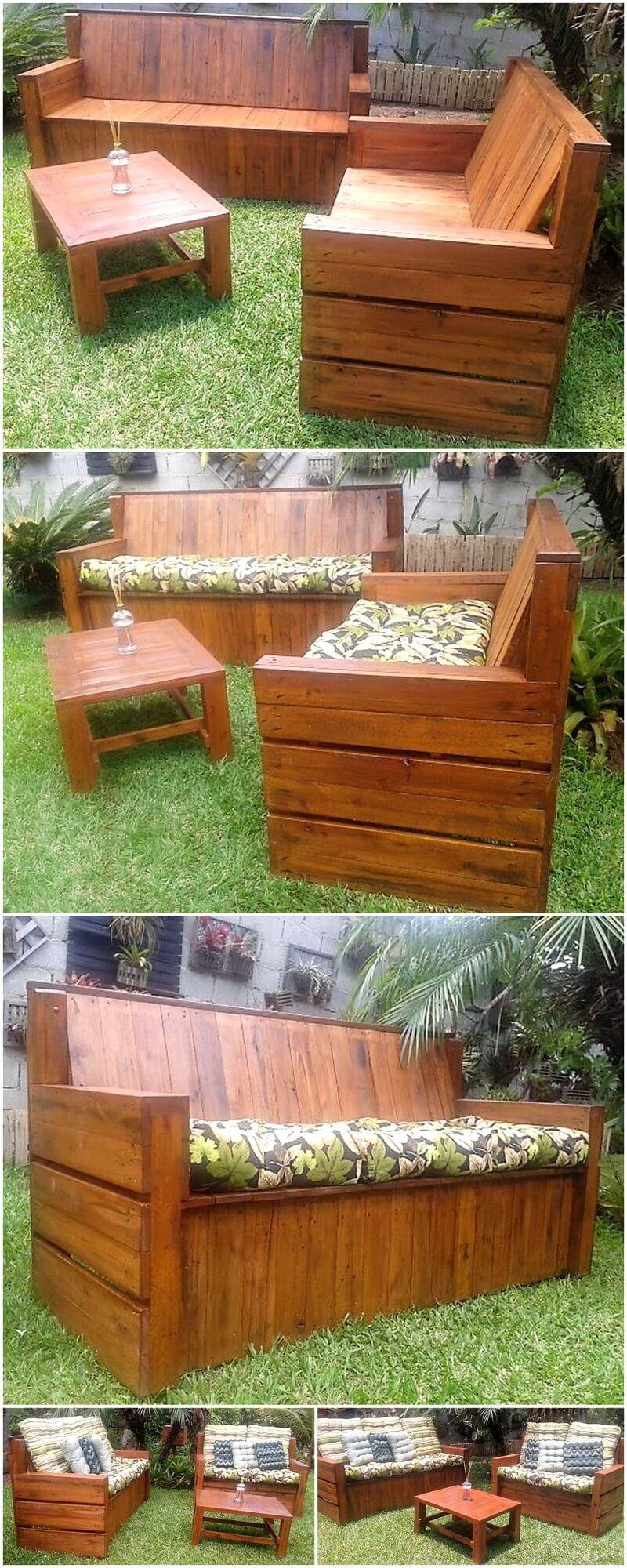 pallets wooden garden furniture set