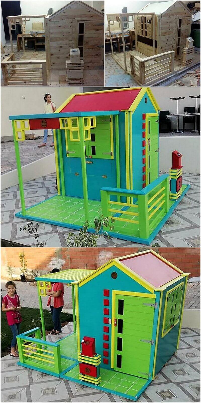 pallets wooden kids playhouse plan