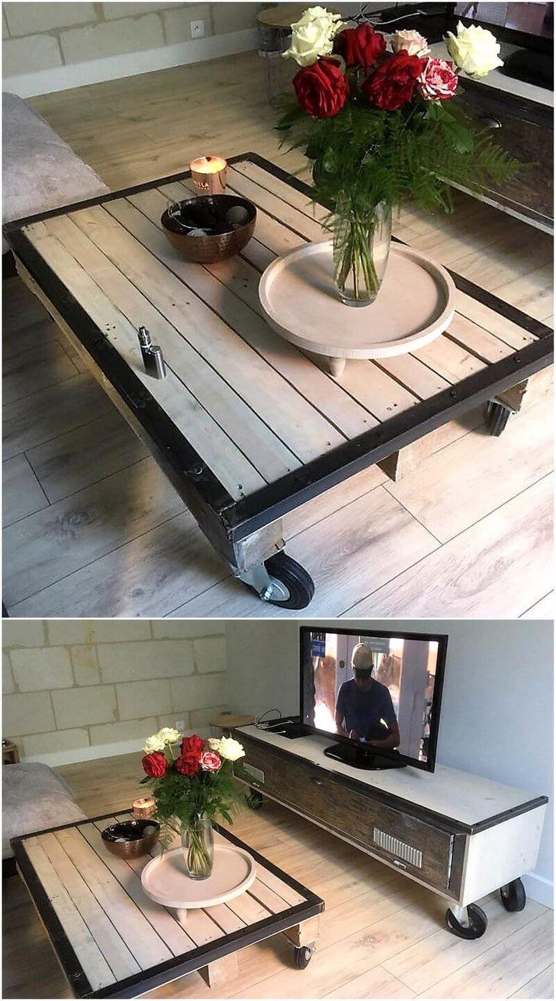 reclaimed pallets coffee table and tv stand