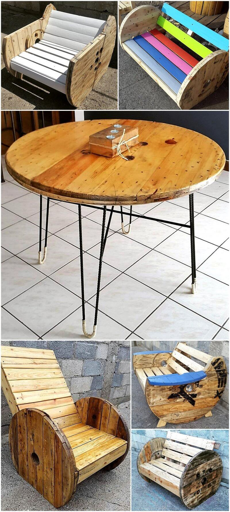 recycled pallet cable reel furniture ideas