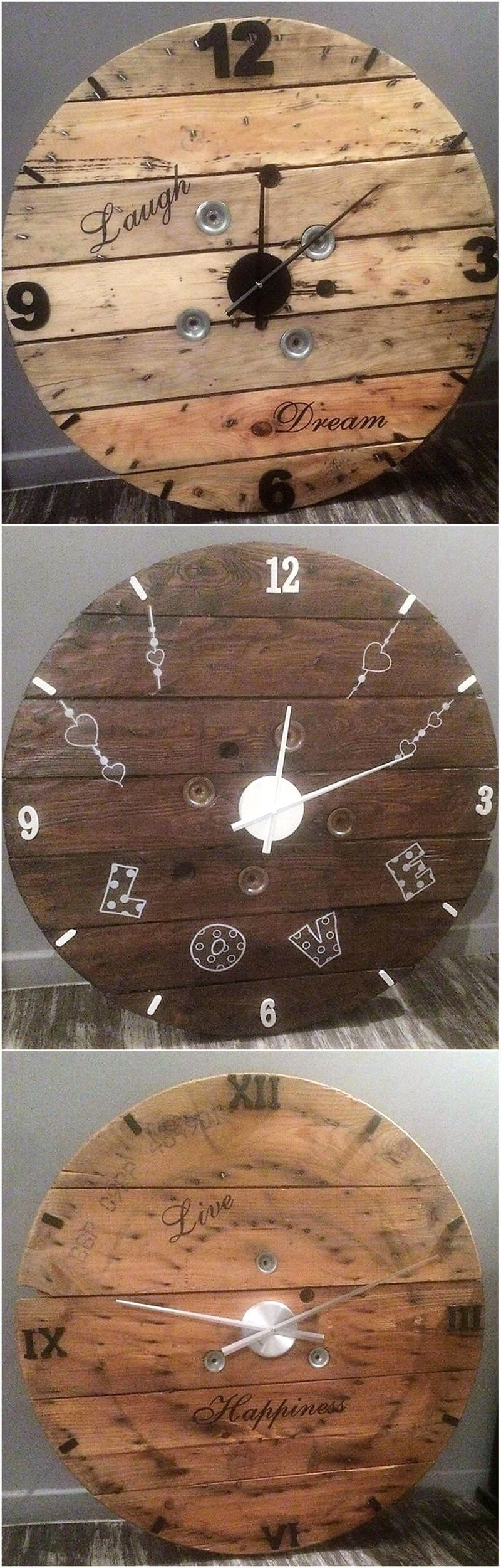 recycled pallets clock art