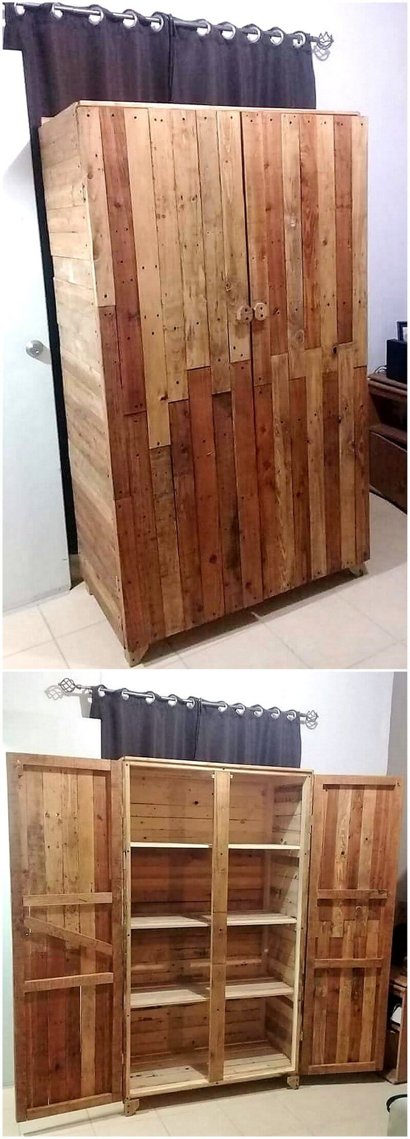 recycled wood pallet closet
