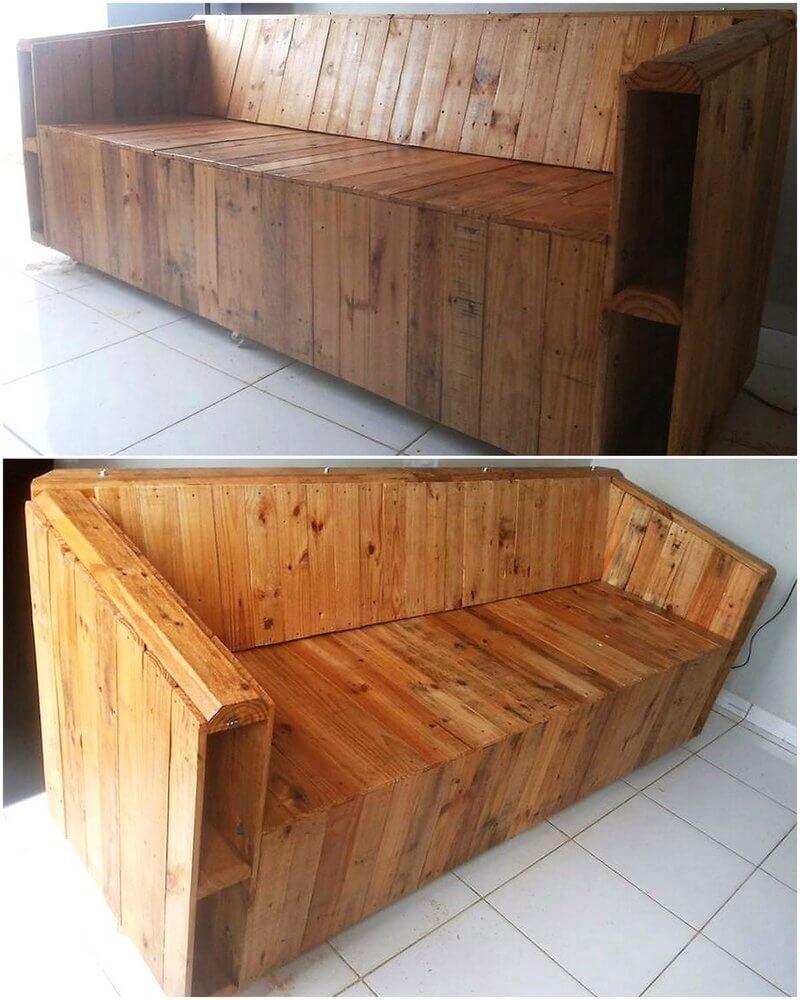 repurposed pallet wood sofa