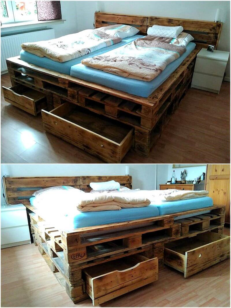 reused pallet wood made bed