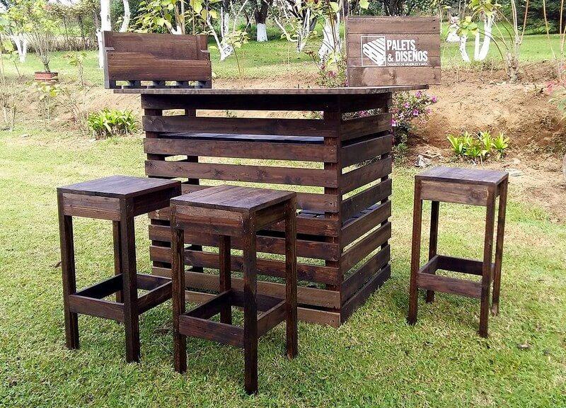 reused wood pallet bar plan