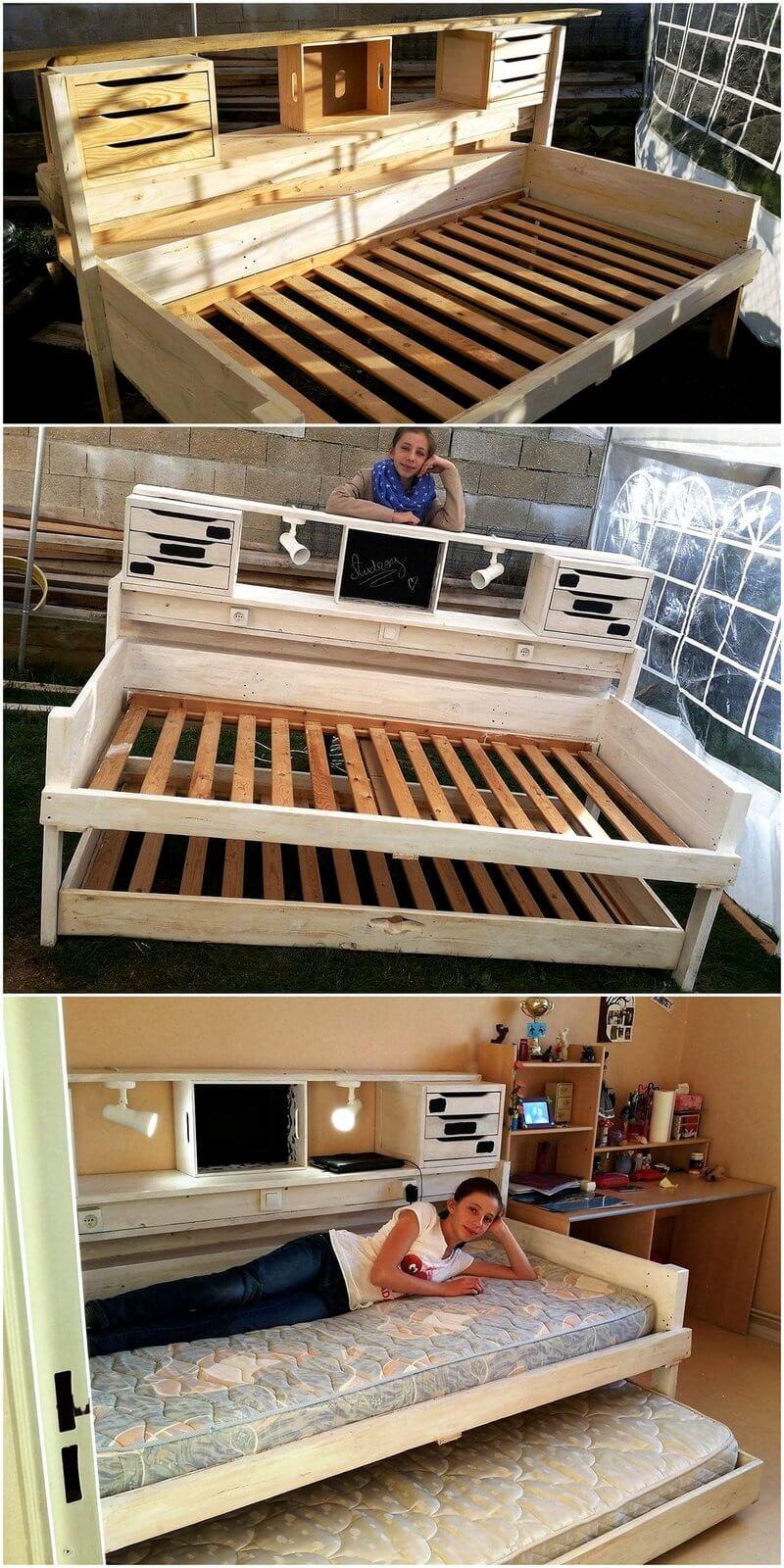 reused wood pallet bed plan