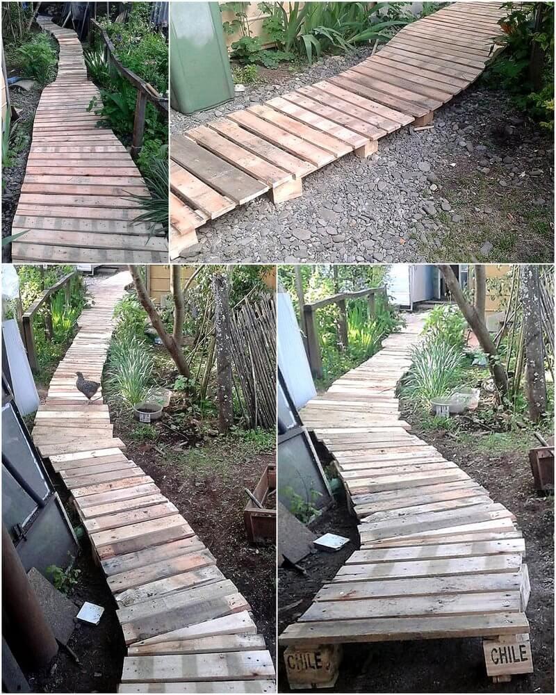 reused wood pallet garden pathway