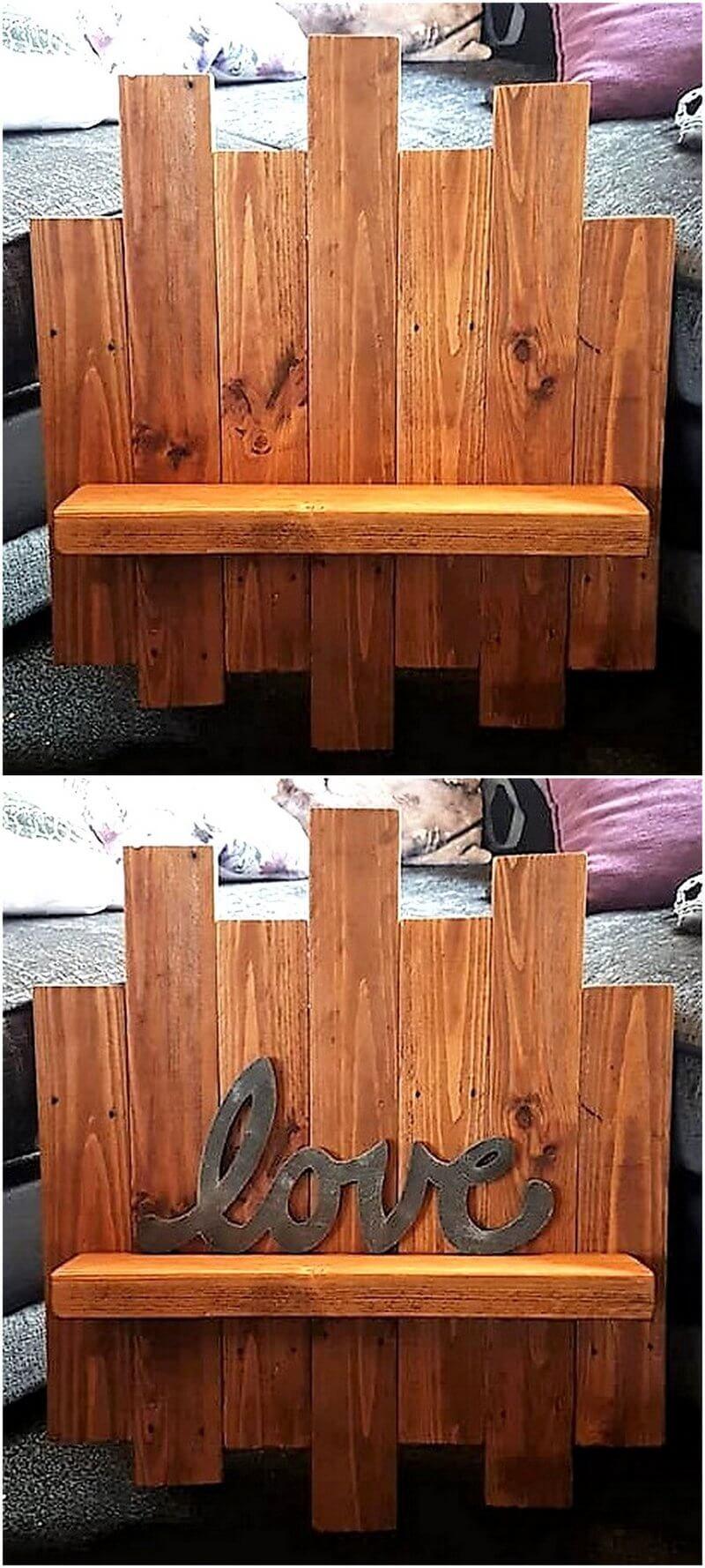 wood pallet love shelf