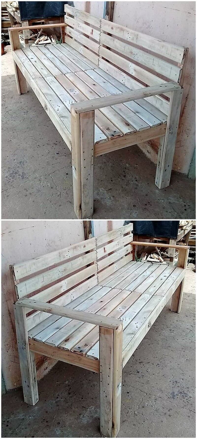 wood pallet patio bench