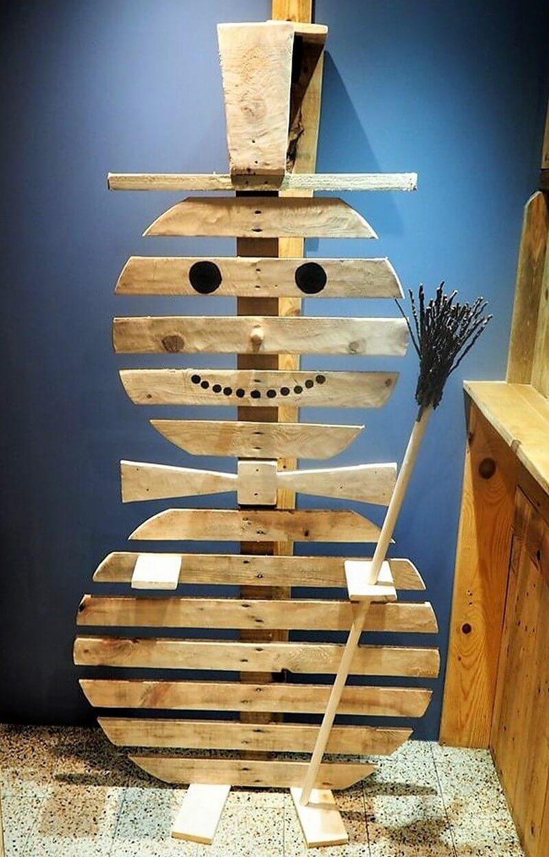 wood pallet snowman art craft
