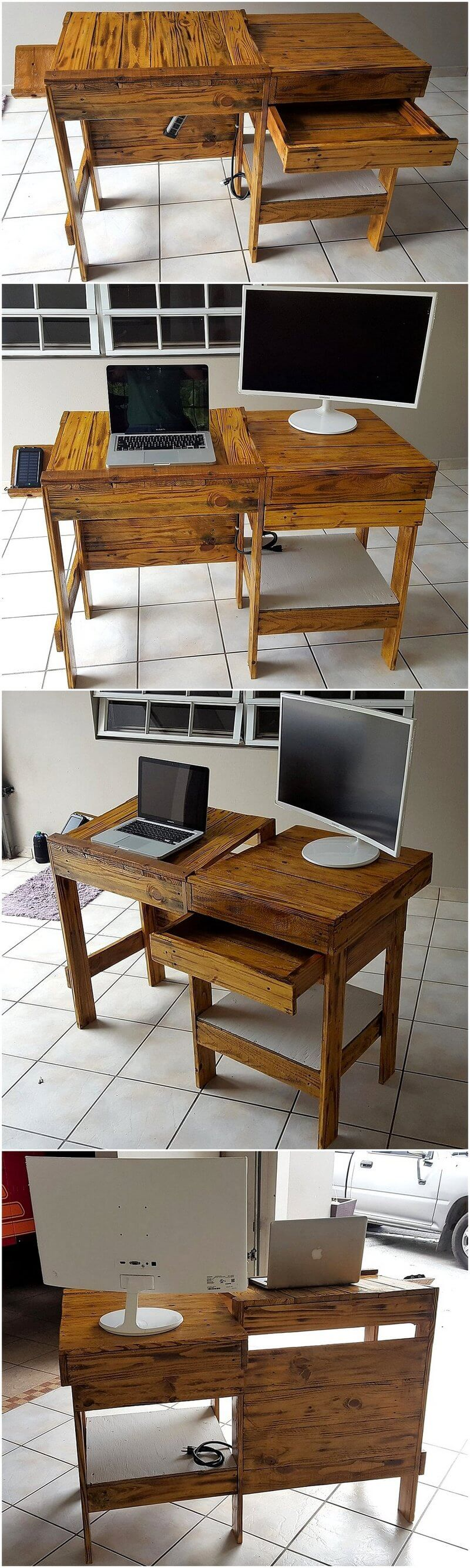 wood pallet study and pc desk