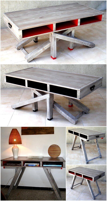 wood pallets adjustable coffee table
